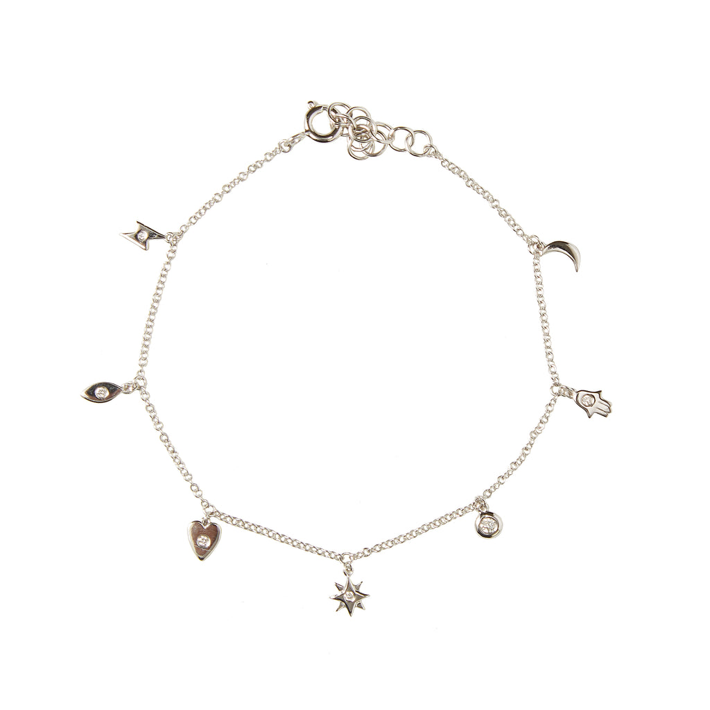 14k gold bitty diamond multi charm bracelet