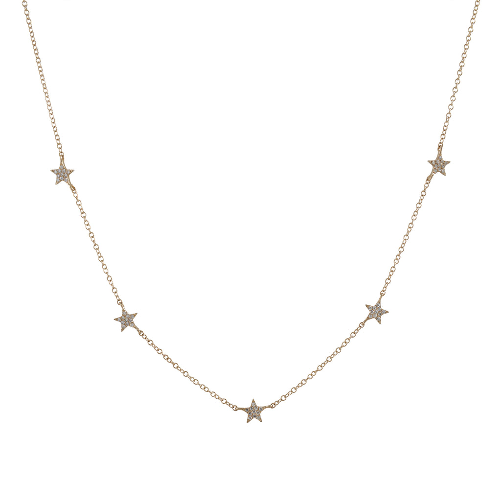 14k gold diamond multi star necklace