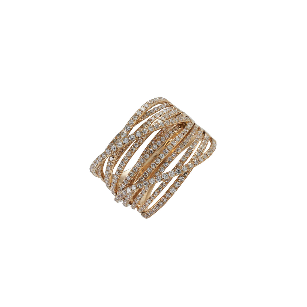 14k gold diamond multi band criss cross ring