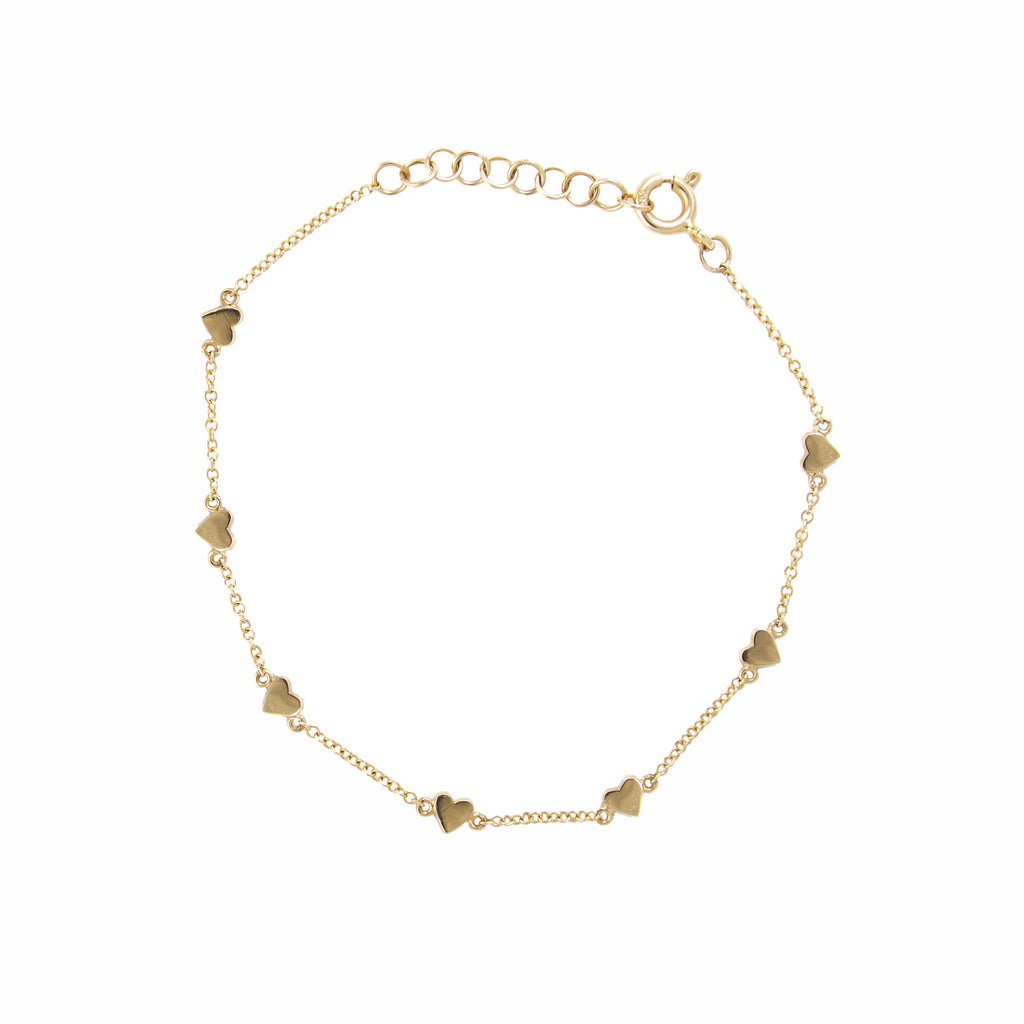 14k gold multi heart bracelet