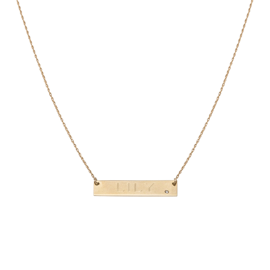 14k gold nameplate necklace with diamond accent