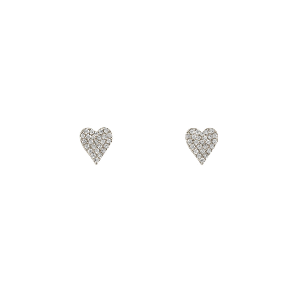 14k gold diamond oblong heart stud - single