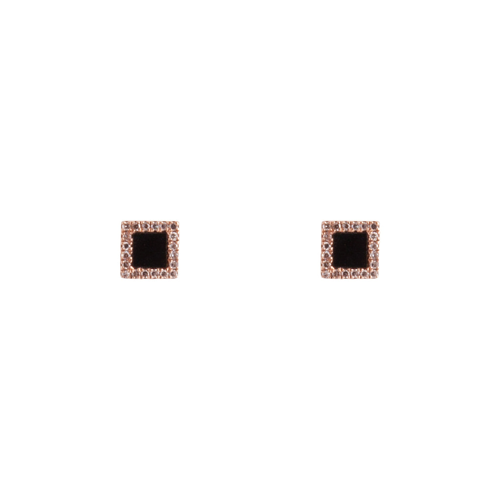 14k gold onyx and diamond square posts