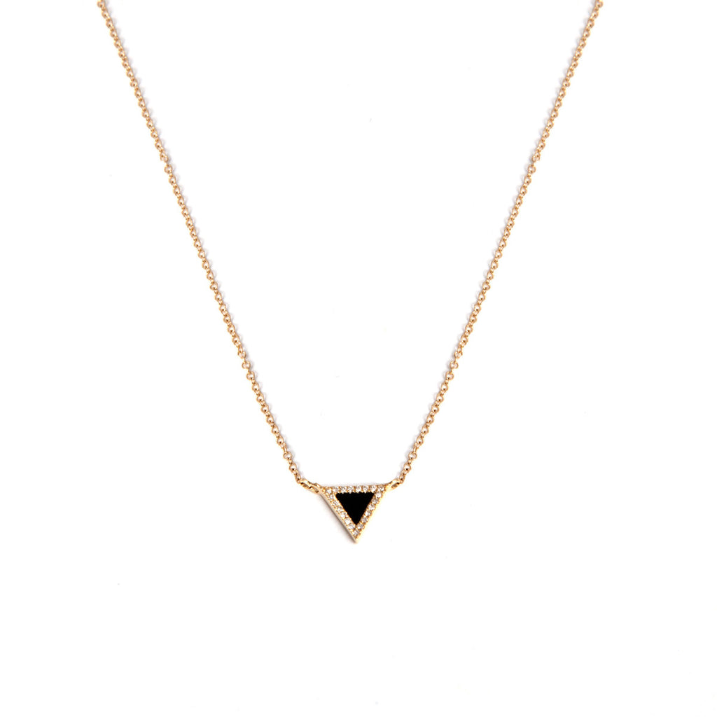 14k gold onyx and diamond triangle necklace