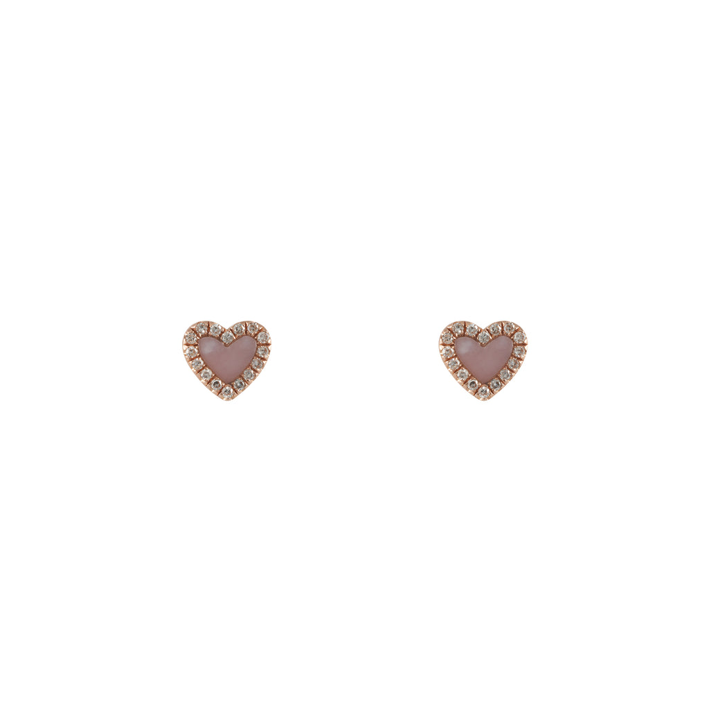 14k gold diamond opal heart studs