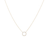 14k gold diamond open circle necklace