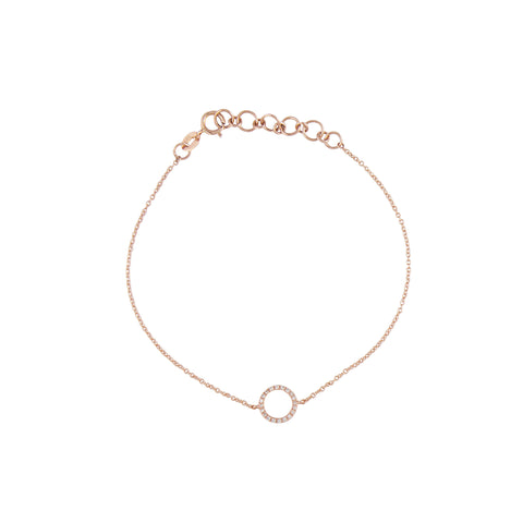 14k gold diamond circle bracelet