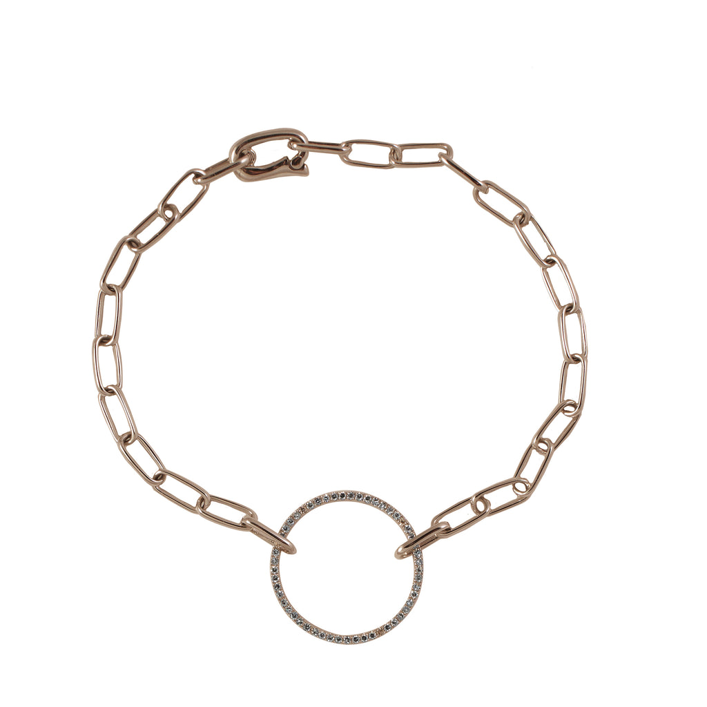 14k gold large diamond circle chain link bracelet