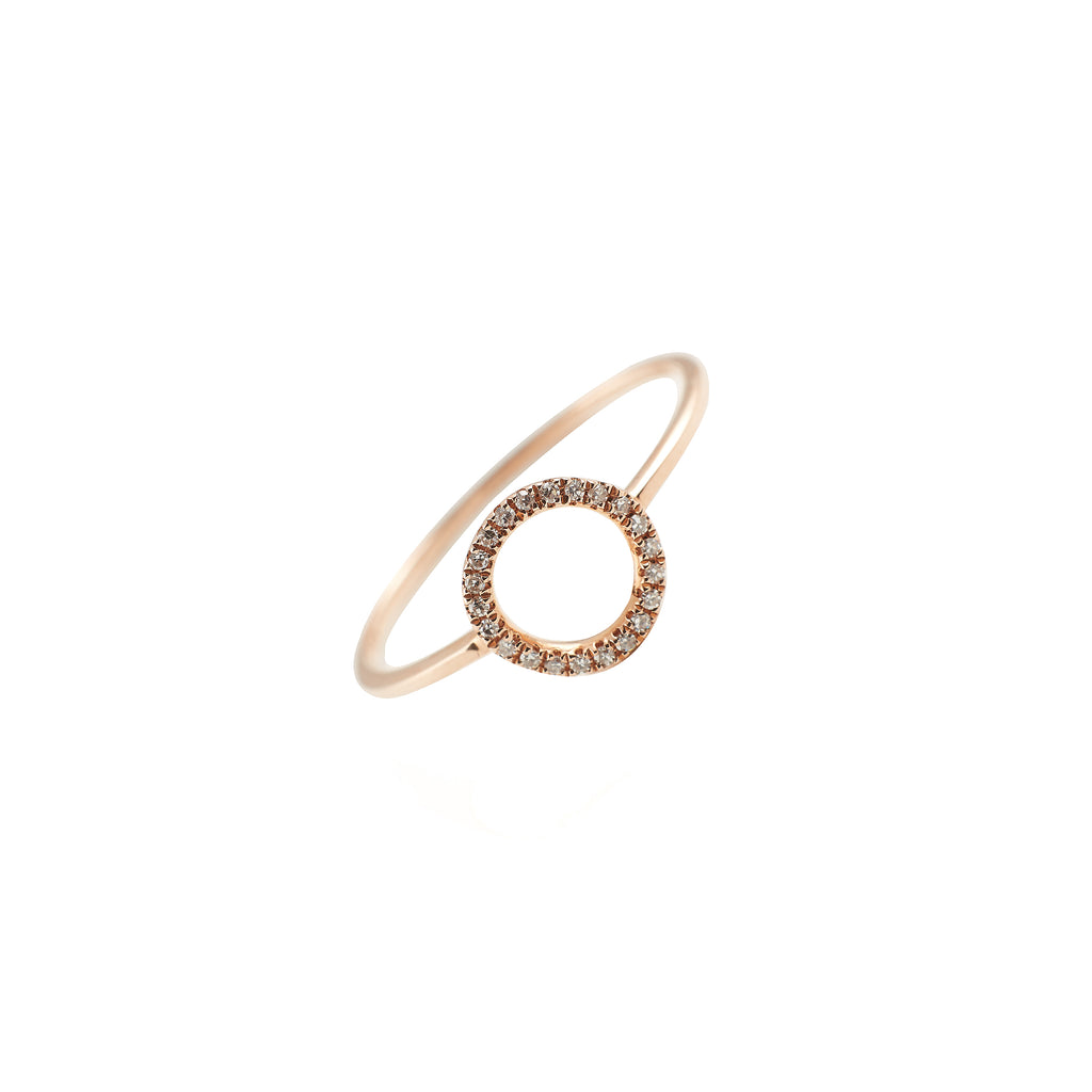 14k gold diamond open circle ring