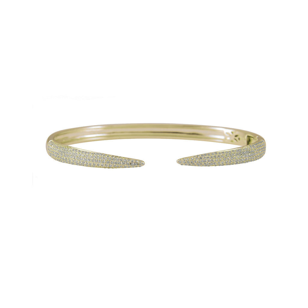 14k gold diamond open claw bangle