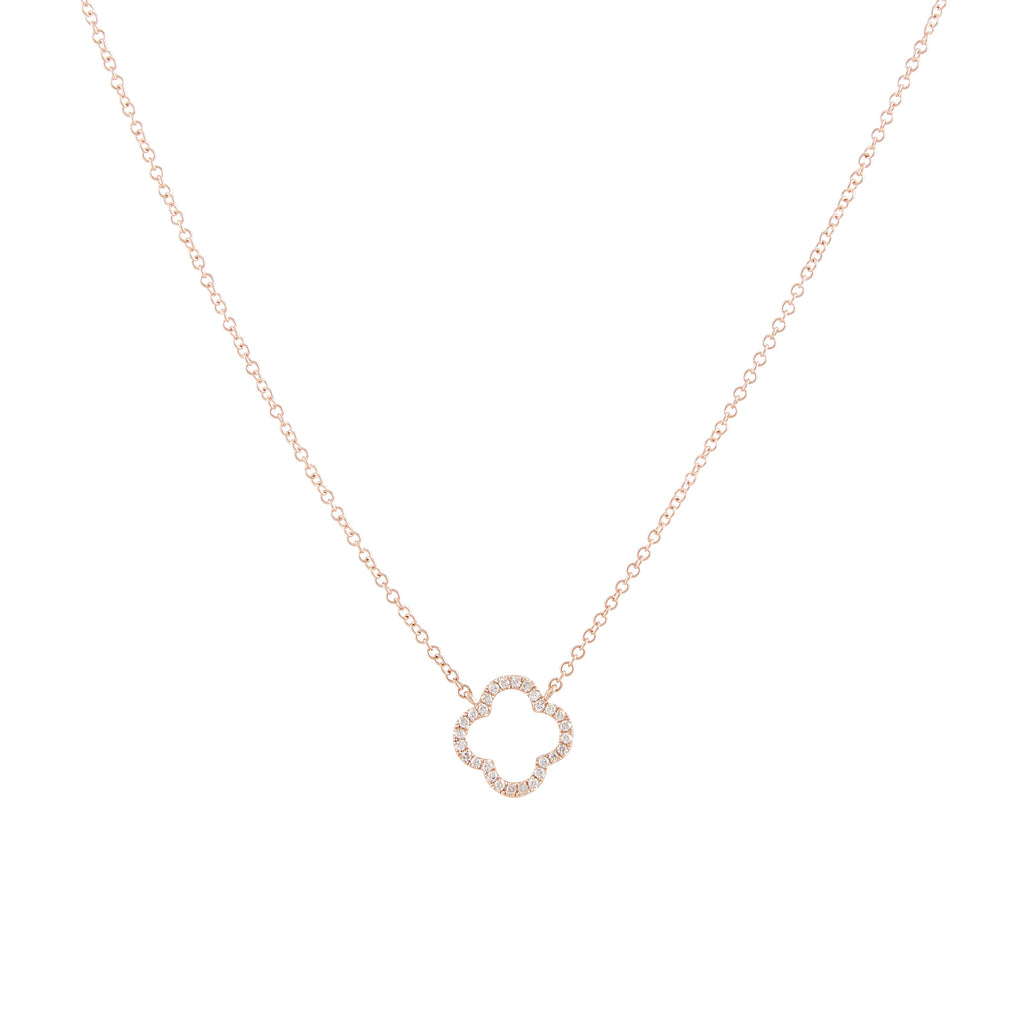 14k gold diamond open flower necklace