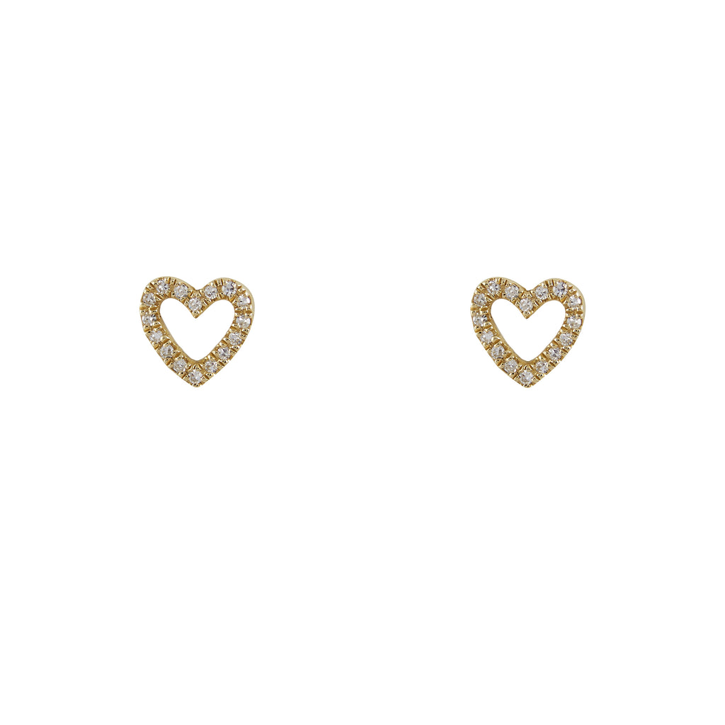 14k gold diamond open heart studs