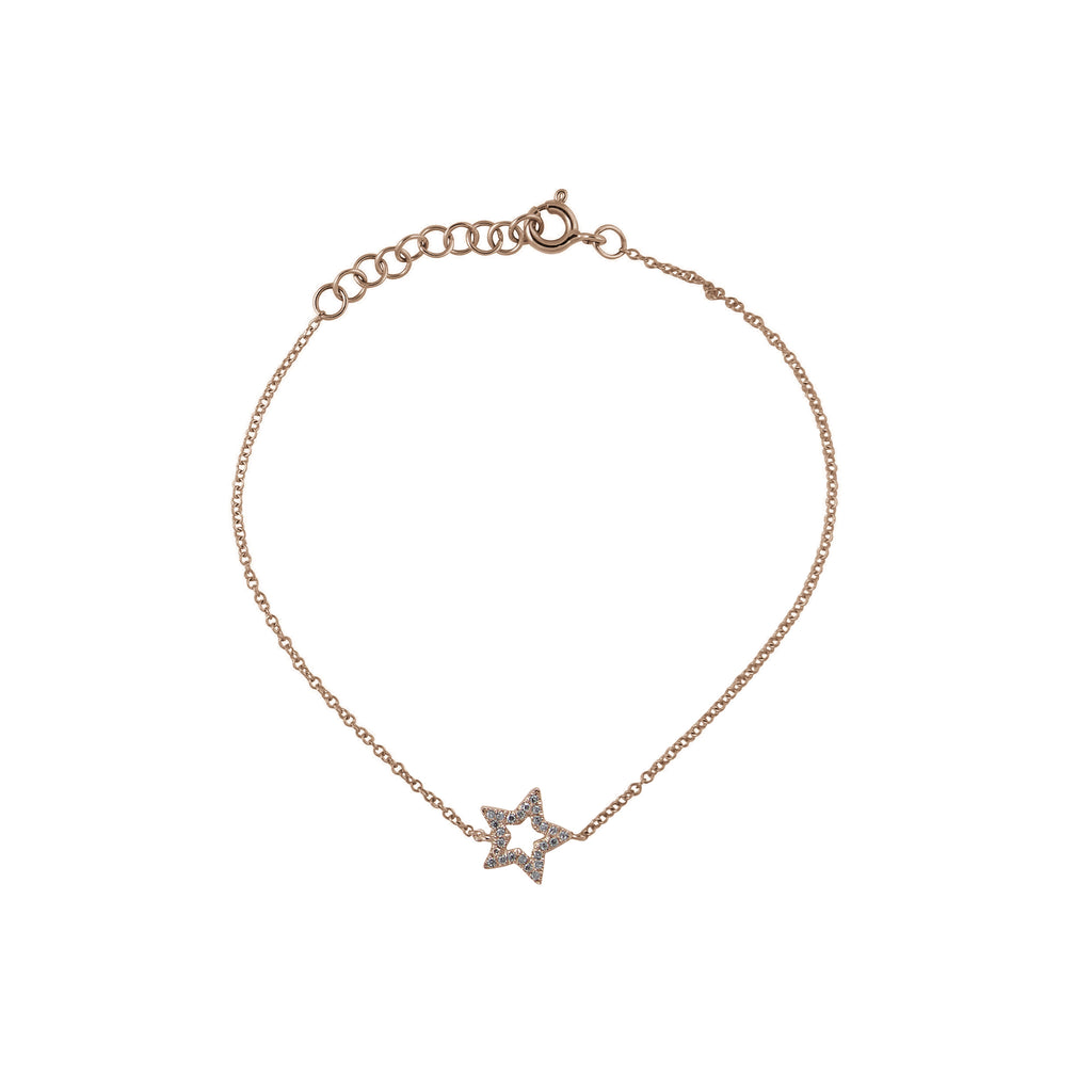 14k gold open star diamond bracelet