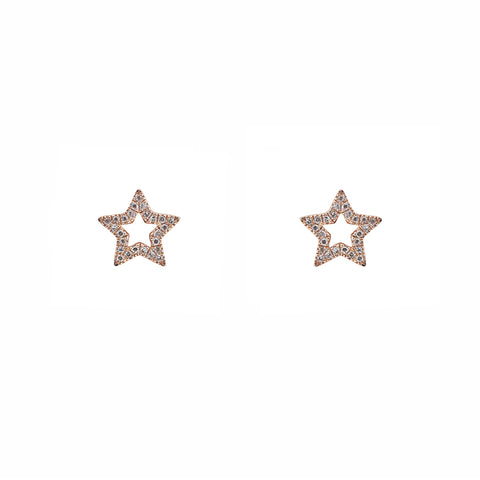14k gold diamond open star studs
