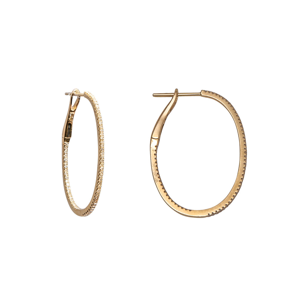 14k gold small diamond oval hoops