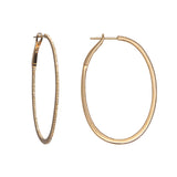 14k gold diamond large oval hoops