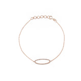 14k gold diamond oval bracelet