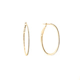 14k gold diamond medium oval hoops