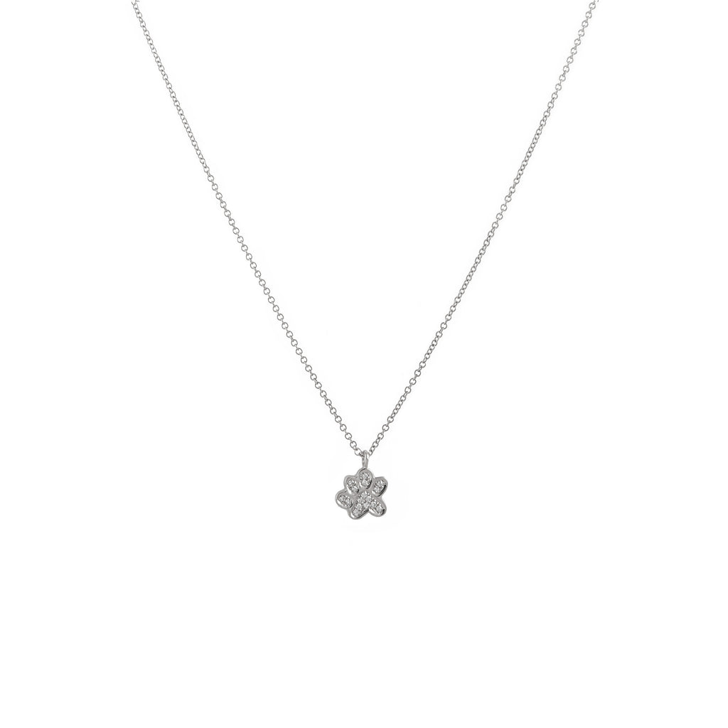 14k gold diamond paw print necklace