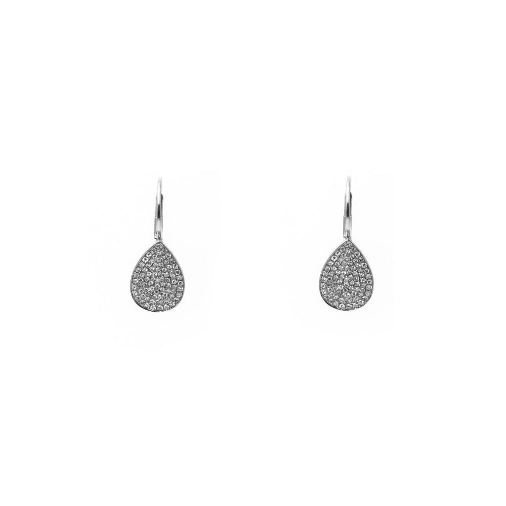 14k gold diamond large pear drop earrings