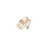 14k gold diamond swirl with rose cut diamond pears