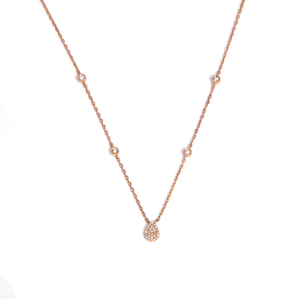 14k rose gold diamond pear and bezel necklace