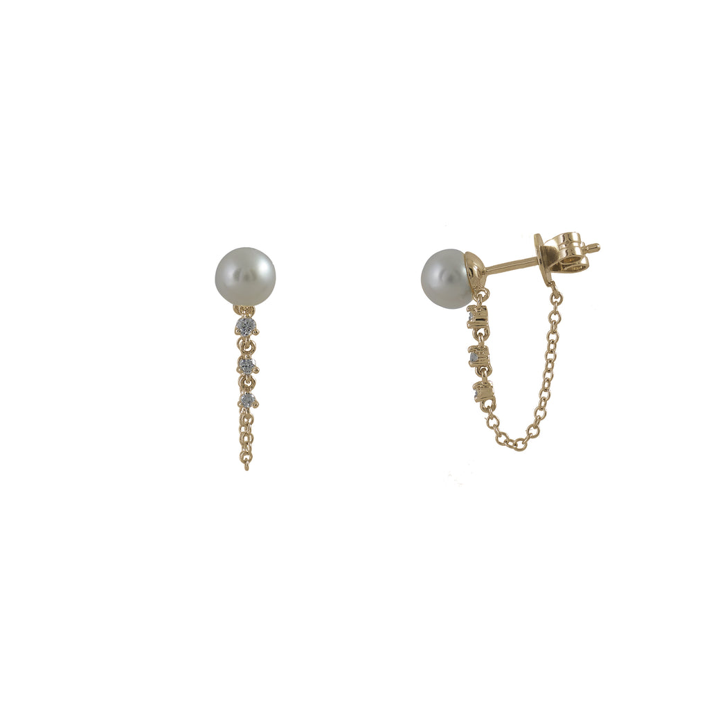 14k gold pearl with chain drop