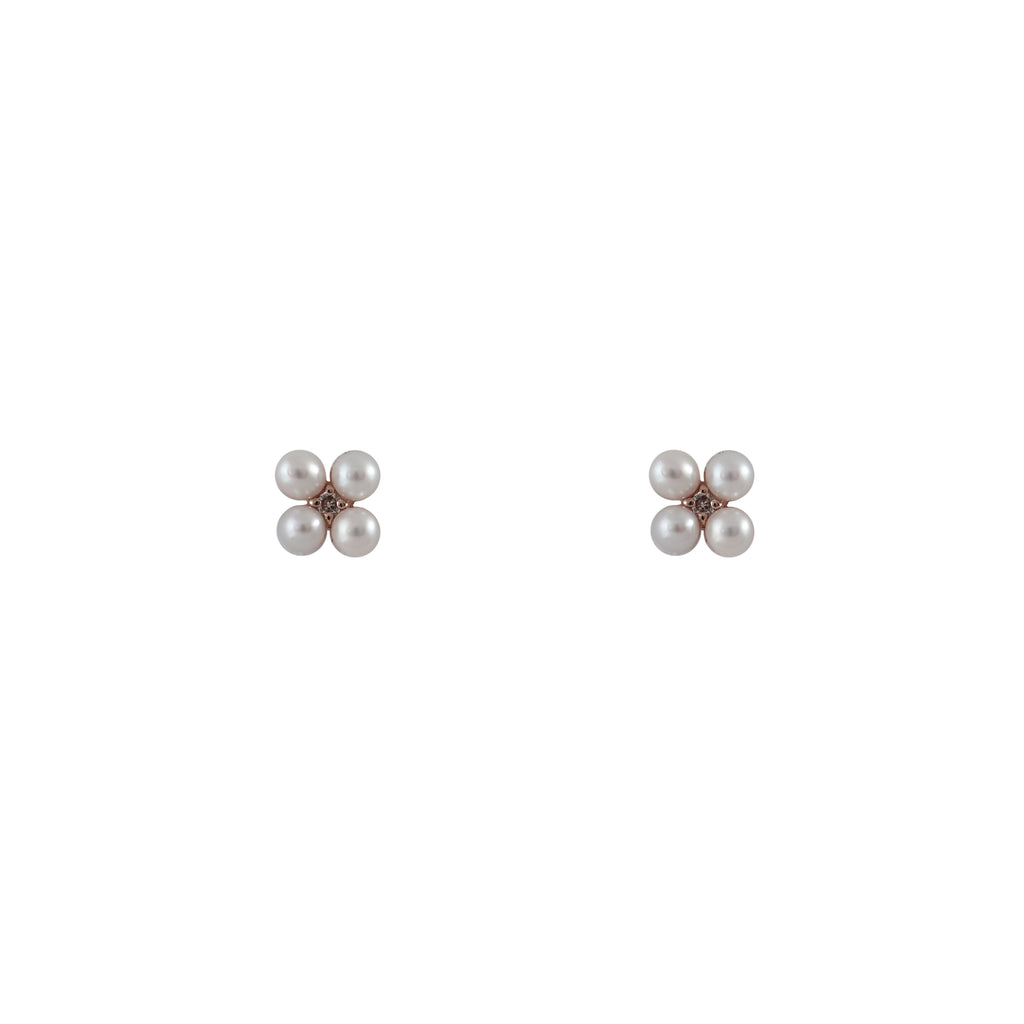 14k gold pearl and diamond cluster studs