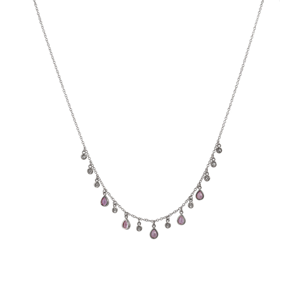 14k gold diamond and pink sapphire drop necklace