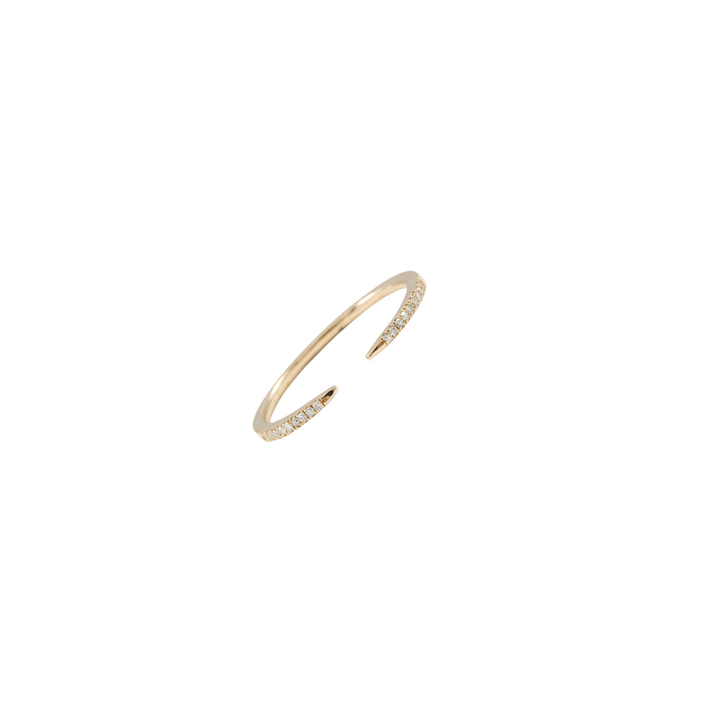 14k gold diamond open claw ring