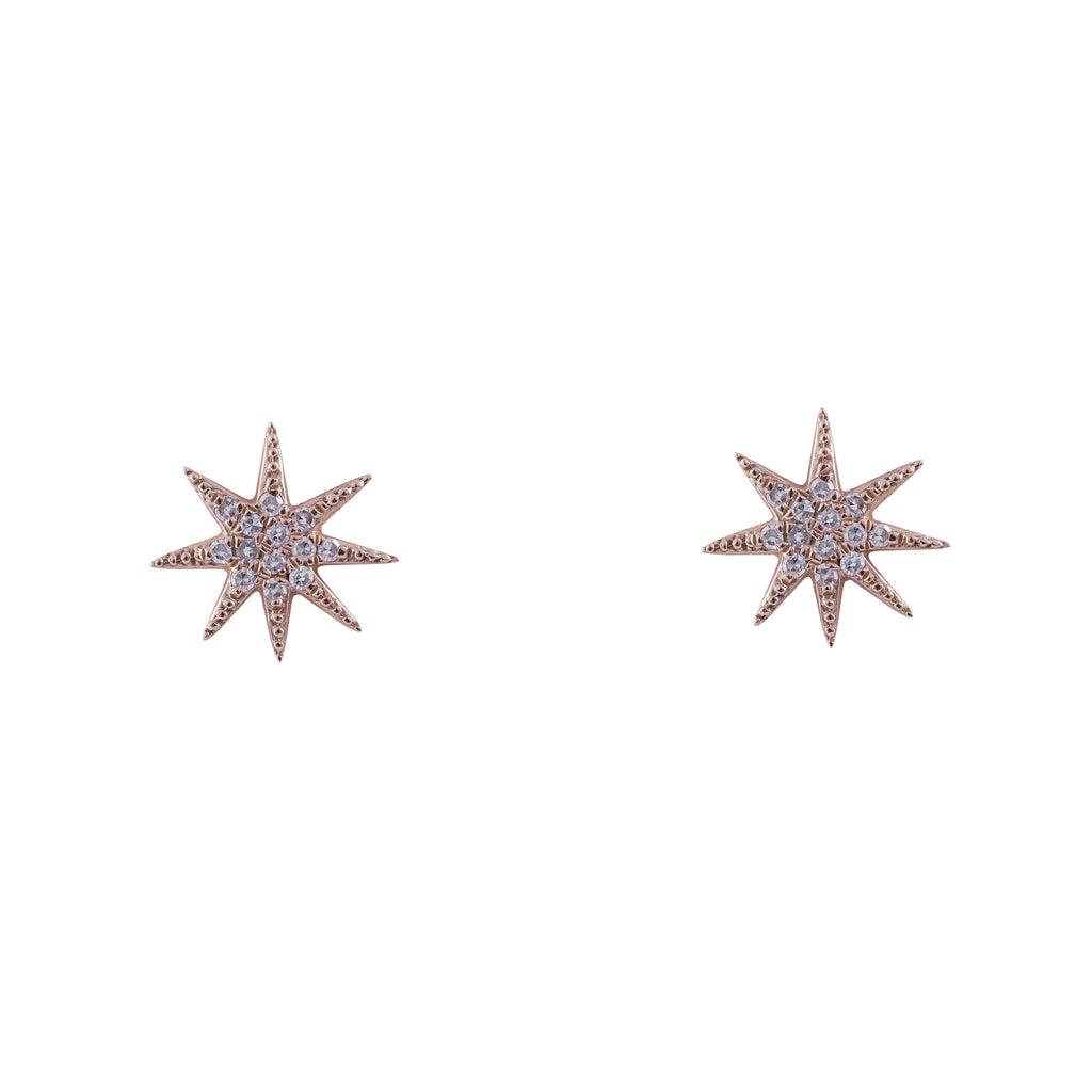 14k gold diamond pointy starburst studs