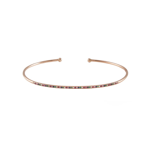14k gold rainbow diamond bar bangle