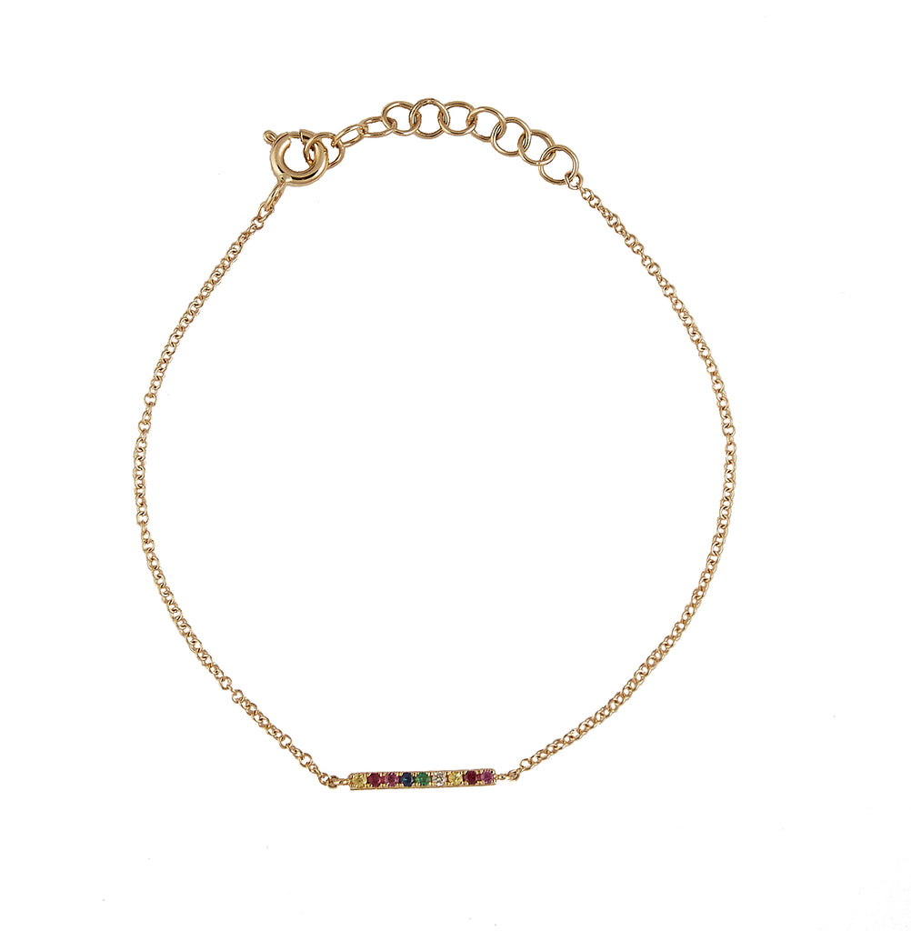 14k gold semi precious rainbow bar bracelet