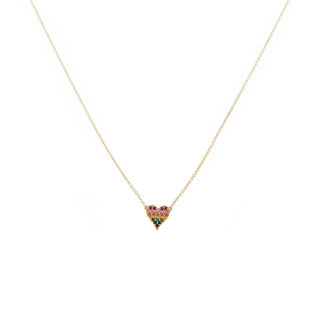 14k gold semi precious heart necklace