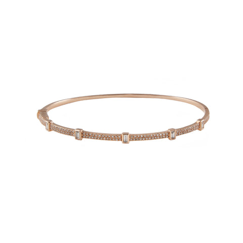 14k gold diamond bangle with rectangle baguettes