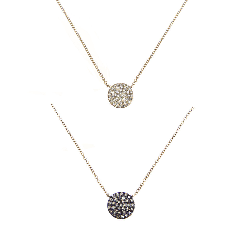 14k gold diamond reversible disk necklace