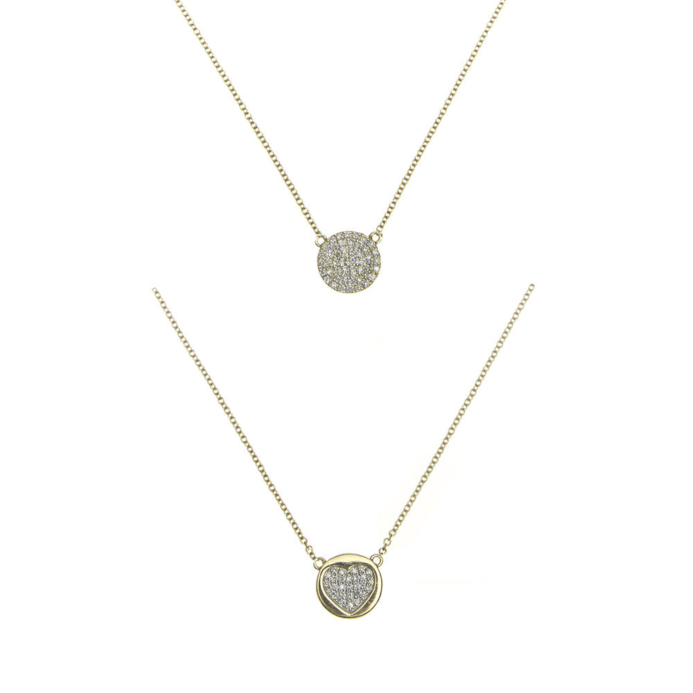 14k gold diamond reversible pave heart necklace