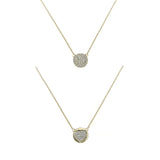 14k gold and diamond reversible pave heart disk necklace
