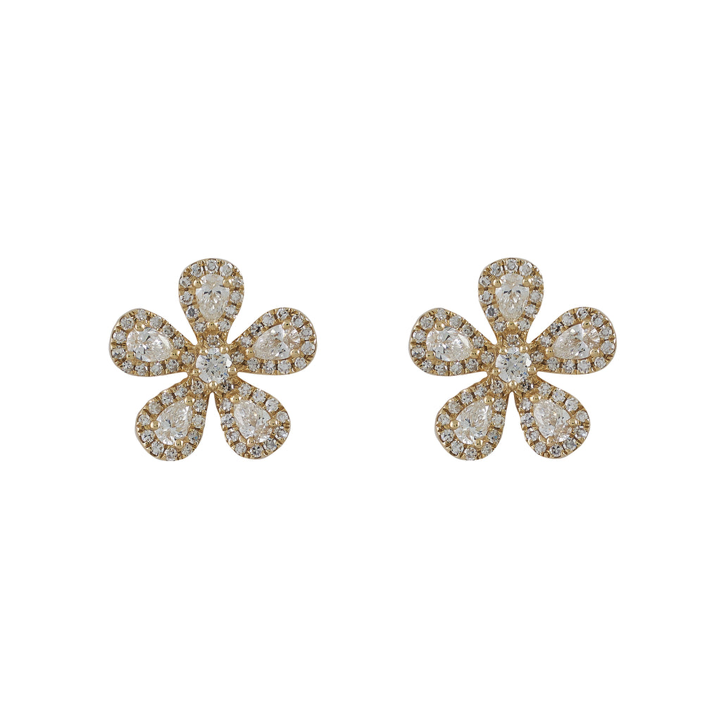 14k gold rose cut diamond flower earrings