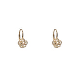 14k gold diamond rosette drop earrings