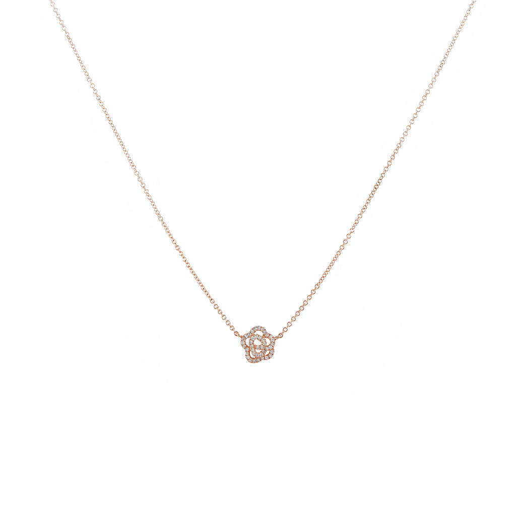 14k gold diamond rosette necklace