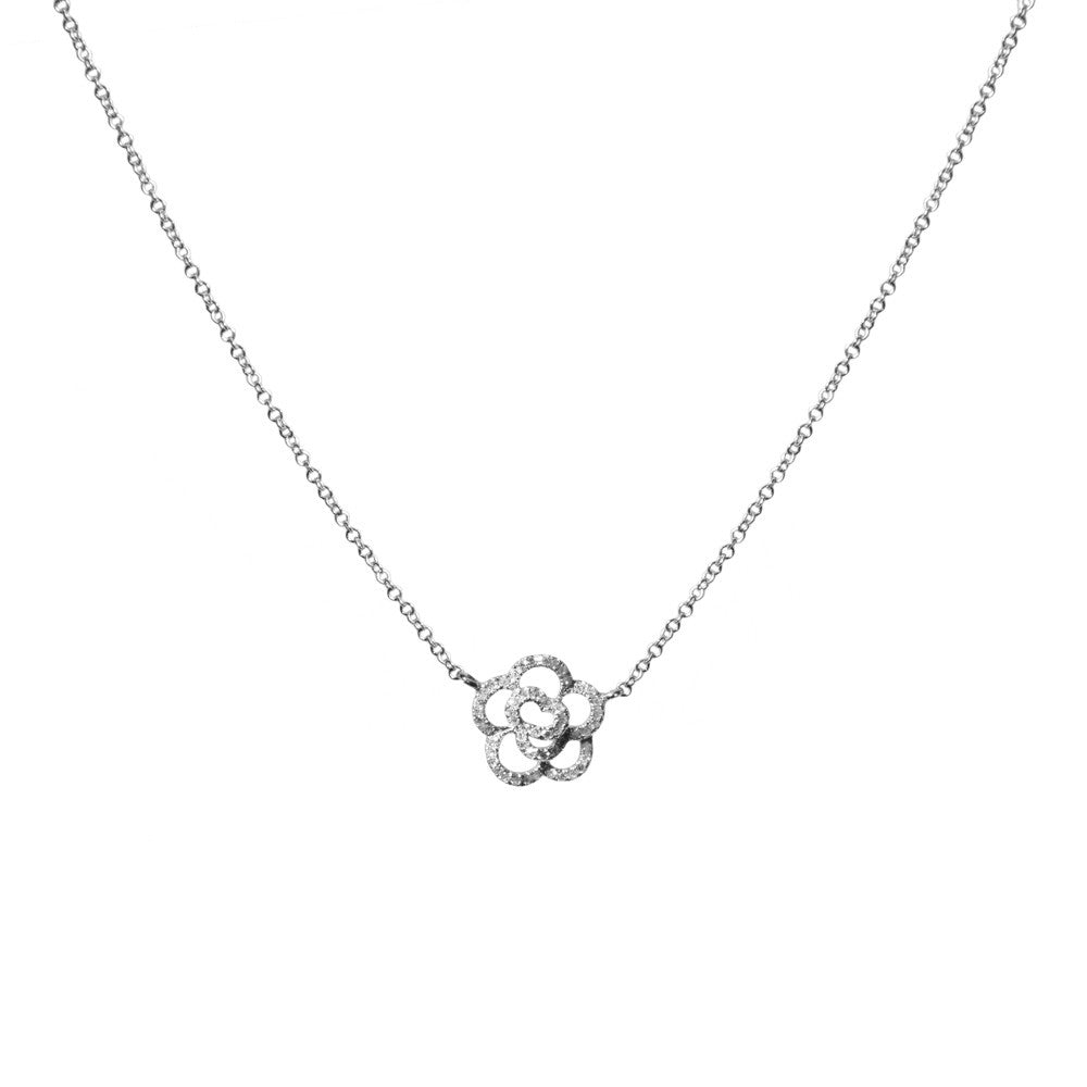 14k gold diamond flower necklace