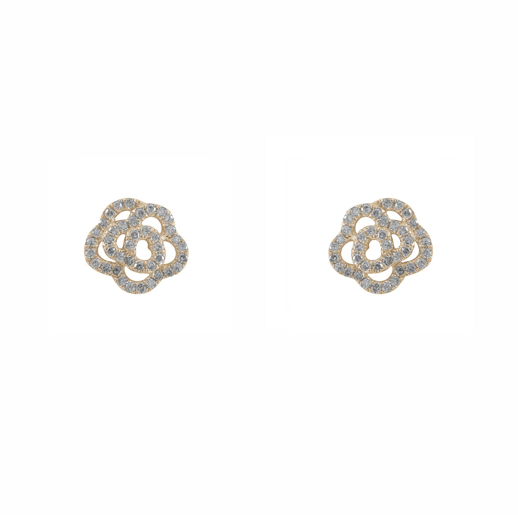 14k gold diamond rosette posts