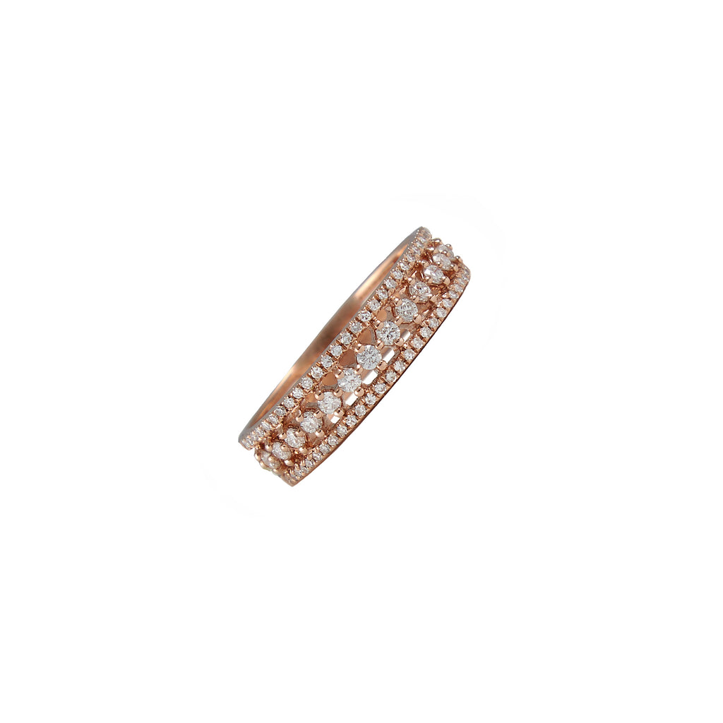14k gold round diamond border ring