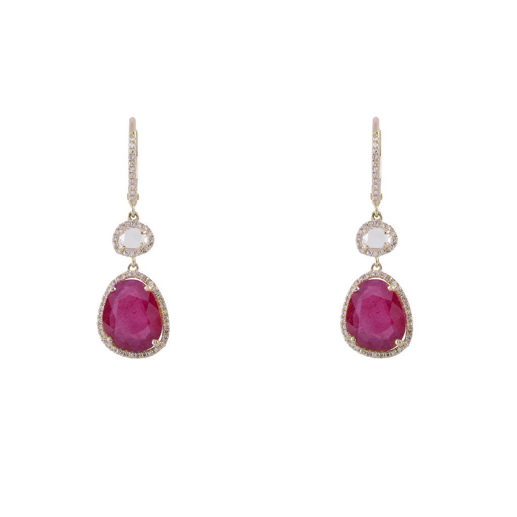 14k gold diamond ruby with white topaz drops