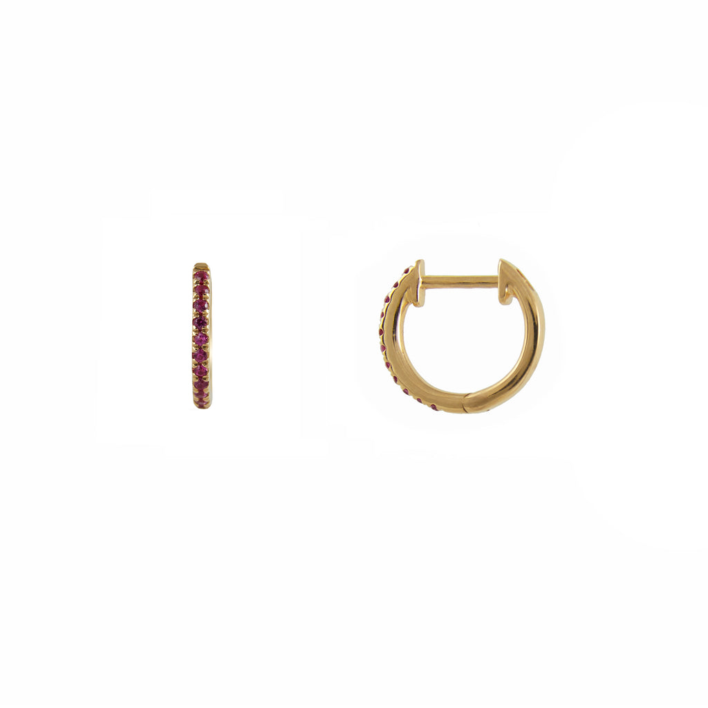 14k gold baby ruby huggies