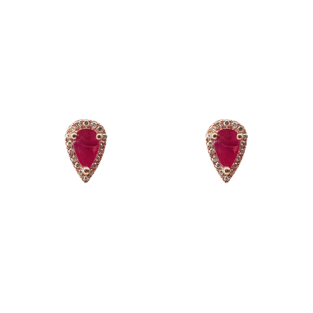 14k gold diamond and ruby pear shape studs