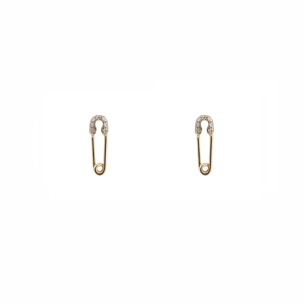 14k gold diamond safety pin studs