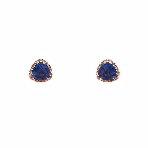 14k rose gold diamond and sapphire studs