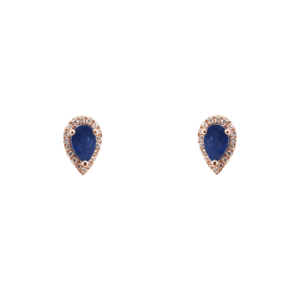 14k gold diamond and sapphire pear shape studs